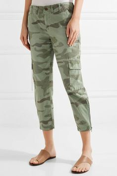 Current/Elliott - The Utilitarian Camouflage-print Cotton-canvas Tapered Pants - Army green -