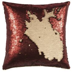 Red/Gold SEQUIN Cushion ($53) ❤ liked on Polyvore featuring home, home decor, throw pillows, red home accessories, red throw pillows, red home decor, gold sequin throw pillow and red toss pillows
