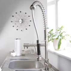 Kitchen:Hudson Reed Brushed Nickel Plated Spring Kitchen Faucet Modern Kitchen Faucets Brushed Nickel Ultra Modern Kitchen Faucet Designs Id...