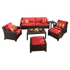8-Piece Cabo Patio Seating Set in Cantina Red  at Joss and Main