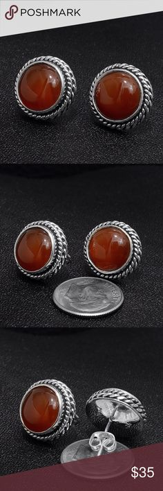 """Sterling Silver & Carnelian Earrings Stamped """"925"""".  This is not a stock photo. The image is of the actual article that is being sold  Sterling silver is an alloy of silver containing 92.5% by mass of silver and 7.5% by mass of other metals, usually copper. The sterling silver standard has a minimum millesimal fineness of 925.  All my jewelry is solid sterling silver. I do not plate.   Hand crafted in Taxco, Mexico.  Will ship within 2 days of order or sooner Jewelry Earrings"""