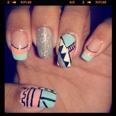 Diseño de uñas de tribales #nails #uñas #diseñodeuñas #COSTARICA #tribales