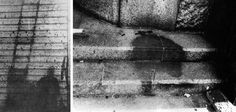 These are nuclear shadows of people disintegrated in Hiroshima, Japan.