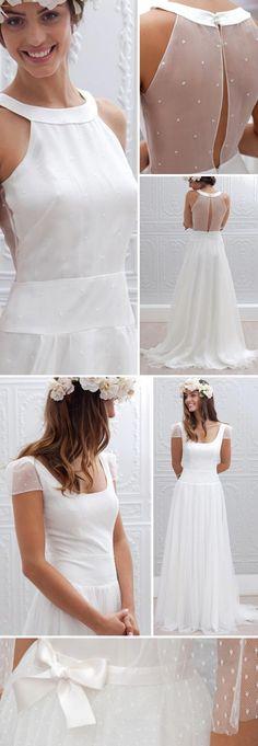 """De haut en bas : détails robe de mariée 2015 """"Christina"""", """"Georgia"""" et """"Pivoine"""", Marie Laporte"""
