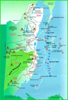 Belize Maps, Map of Ambergris Caye, Belize and Belizean area
