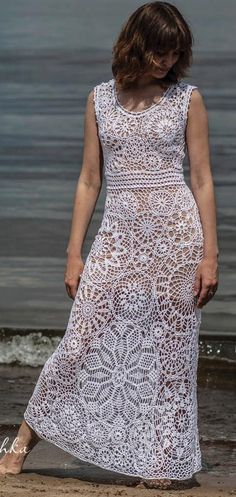 white crochet dress by krinichka on Etsy