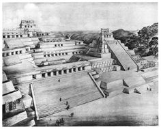 Acrópolis de Piedras Negras (Guatemala), la cual fue construida sobre una colina natural.  Dibujo reconstructivo de Tatiana Proskouriakoff