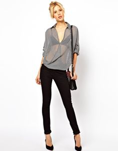 Blouse With Drape Front In Mono Stripe
