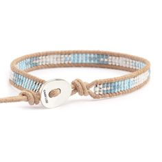 Chan Luu - Blue Mix Single Wrap Bracelet on Beige Leather, $60.00 (http://www.chanluu.com/bracelets/blue-mix-single-wrap-bracelet-on-beige-leather/)