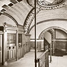 NYC Subway Tile - City Hall Station - Opened in 1904 but no longer in use today, the ticket office at the former City Hall subway station in New York City featured ceramic subway tiles, hailed as durable and easy to maintain, on its walls. The arches and vaulted ceilings were covered with fanciful Guastavino tilework.