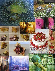 leaf-rose, knife board, christmas cake, halloween flamingos & art