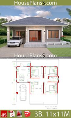 Simple House Design Plans with 3 Bedrooms Full Plans - House Plans - Small house design plans - Home Design Modern House Floor Plans, Simple House Plans, My House Plans, House Layout Plans, Simple House Design, House Layouts, Modern House Design, House Design Plans, Small Home Plans