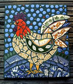 Red-hot Pepper Rooster | Jane Kelly Mosaics