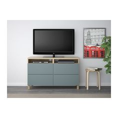 BESTÅ TV bench with drawers, white stained oak effect, Valviken grey-turquoise 120x40x74 cm white stained oak effect/Valviken grey-turquoise drawer runner, soft-closing