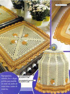 As Receitas de Crochê: JOGO DE COZINHA AMARELO EM CROCHE ❤️LCK-MRS❤️ with diagram.