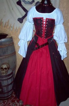 Strapless Pirate Renaisssance Costume Different by bygonethreads