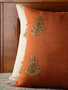 Rust Orange Floral Gota Patti Cushion Cover - 16in x 16in