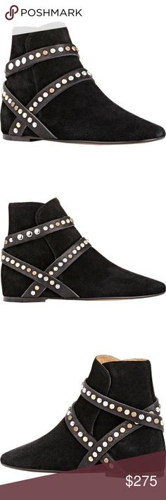 Isabel Marant Studded leathe strap black boots 100% new and authentic Isabel Marant Etoile Ruben Hey Jude Studded Leather Strap Boots || size EU 39 or US 8.5  || never worn || from Nordstorm || Black Suede Leather || msrp $625 Isabel Marant Shoes Ankle Boots & Booties