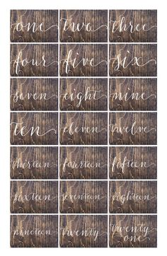 Wedding Double Sided Table Numbers Script Cursive by OAKYdesigns