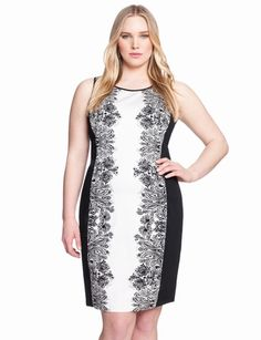 $71.40, nicely done slimming effect with the gradient of color/print.  Printed Lace Sheath from eloquii.com
