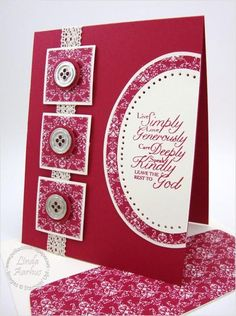 hanmade card ... almost monochromatic red ... luv the design with three inchies in a column ... little more than half an oval at the side with a sentiment to live by ...
