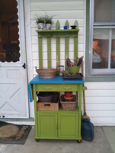 Repurposed A Microwave Cart Into Potting Bench