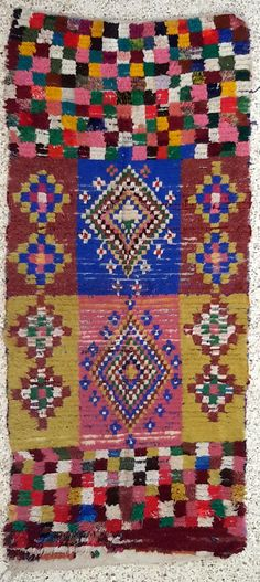 "86""X38"" Vintage Moroccan rug woven using different scraps of used textiles / boucherouite / boucherouette"