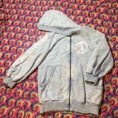 """Peace Acid Wash Hoodie Beautiful powder blue acid wash 3/4 sleeve hoodie with white peace paint graphic. Stitching slightly undone on hood but hardly noticeable. Tag says L fits more like a M. Brand on tag says """"Yag Couture"""" Urban Outfitters Jackets & Coats"""