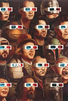 movie characters with old school 3D glasses