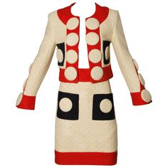 View this item and discover similar for sale at - Phenomenal Franco Moschino designed skirt suit with oversized buttons from Linen and jute plain-weave double cloth. 80s And 90s Fashion, Fashion Outfits, High Fashion, Franco Moschino, Couture Jackets, Costume, Skirt Suit, Cool Suits, Lacma Museum