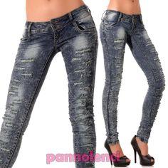 Jeans donna pantaloni skinny ripped tagli pizzo pois BORCHIE strass nuovi 9603