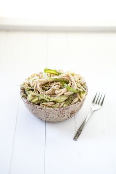 Shaved Asparagus and Noodles with Tahini Sauce #naturallyella