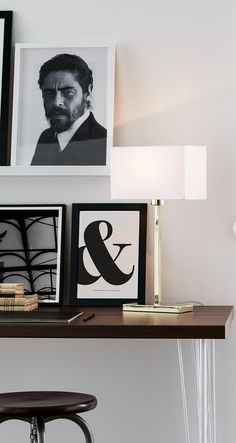 Modern table lamp with rectangular shade and metal base in brass or chrome finish
