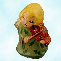 Vaillancourt Chalkware Ornaments, Heavenly Musical Angel, Olive, 2003, H83250, IPlays violin, Mint