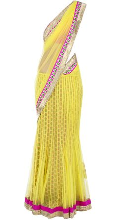 Acid yellow and fuschia sari by PAYAL SINGHAL. http://www.perniaspopupshop.com/designers-1/payal-singhal