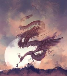 A magical dragon perched, backlit by the moon, greets a tiny person. Created by Arthur Tribuzi. Dragon Artwork, Fantasy Dragon, Canvas Prints, Art Prints, Buy Frames, Cool Art, Drawings, Illustration, Artist