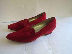 VTG Women 9 Victorian Edwardian Style Red Brushed Leather Low Heel Shoe Westies #Westies #PumpsClassics