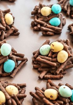 Easy and fun 4 ingredient Easter egg nests. Perfect to make with kids! sweet and salty chocolate covered pretzels with your favorite mini eggs or eggies