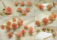 Wedding floral hairband pins clips aliceband with handmade paper flowers, pearls and Swarovski crystals, all hand wired and wrapped in ivory satin ribbon, by BindingTies. Can be remade in other colours and variations - bands, combs, clips and full wired crowns all available.  Cost for a set this size is £105.00