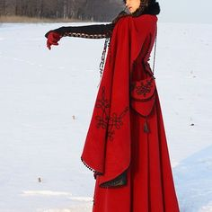 Wool Medieval fantasy custom lining coat with embroidery bag, hat and muff. Custom coat. ArmStreet styling