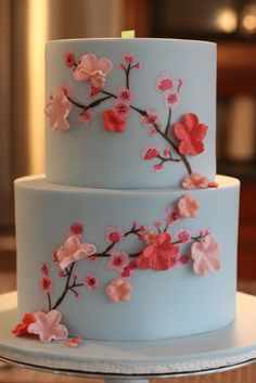How to Make Cherry Blossoms on Cake; Moneting it- How to Make Cherry Blossoms on Cake; Moneting it Panda and cherry blossom cake McGreevy Cakes - Pretty Cakes, Cute Cakes, Beautiful Cakes, Amazing Cakes, Beautiful Cake Designs, Cherry Blossom Party, Cherry Blossoms, Dessert Design, Bolo Floral