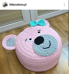 Knitting Cushion Making For Child Room – Knitting And We Diy Crochet Basket, Crochet Pouf, Crochet Diy, Crochet Cushions, Crochet Pillow, Crochet Bear, Crochet Crafts, Crochet Dolls, Crochet Projects