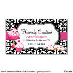Bakery business cards 20 examples of pastry shop business cards sweet treats and damask bakery business card reheart Images