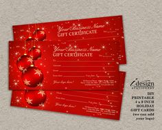 Elegant Christmas Gift Cards | Printable Holiday Gift Certificates | Personalized Blank Rack Card Size Xmas Gift Vouchers With Red Ornaments by iDesignStationery on Etsy