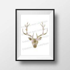 Affiche imprimable Tête de chevreuil géomtrique 8x10, Deer head printable poster, wall art decoration à imprimer Graphic, Creations, Etsy, Decoration, Frame, Home Decor, Art, Printable, Handmade Gifts