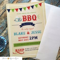 I Do BBQ, Engagement Party Invitation (PRINTED FILE) by DesignbyKristinLynn on Etsy
