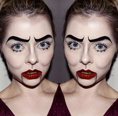 Jasmin Keers with some beautiful ventriloquist dummy style Halloween makeup - Love the contouring!
