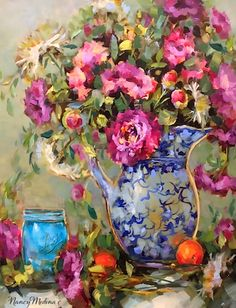 Artists Of Texas Contemporary Paintings and Art - Given Day Peonies by Texas Flower Artist Nancy Medina