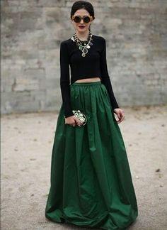 Black top and green skirt just soo elegant