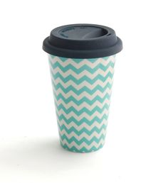 Coffee in a reusable tiffany blue chevron coffee mug makes mornings happy